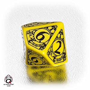 1 (One) Single d10 – Q-Workshop: Carved STEAMPUNK Ten Sided Dice / Die (Yellow / Black) by Q Workshop