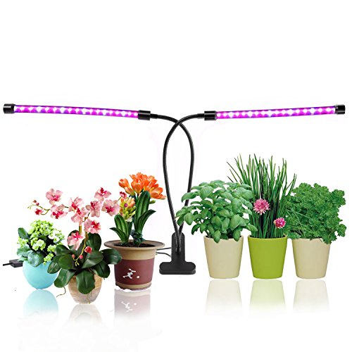 $24.99 Plant Growing Lamps, LED Grow Lights Ticent 18W Dual Head Timing Light for Indoor Plants, 36 LED Chips with Red Blue Spectrum, Adjustable Gooseneck, 5 Dimmable Levels[2018 Upgraded] 2019