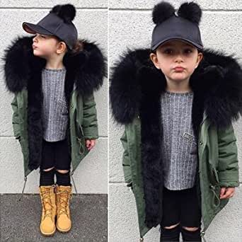 Amazon.com: Cute Kids Boy Girl Winter Black Fur Parker