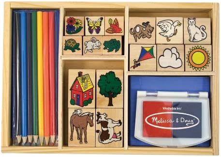 Melissa Doug Deluxe Wooden Stamp Set With 16 Stamps 2 Inkpads And 7 Colored Pencils