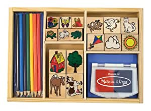Melissa & Doug Deluxe Wooden Stamp Set With 16 Stamps, 2 Inkpads, and 7 Colored Pencils
