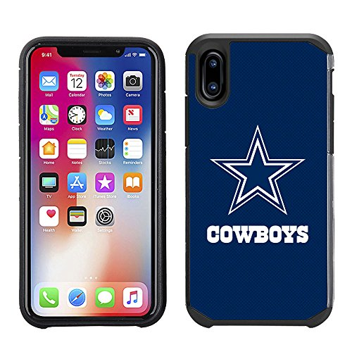 Dallas Cowboys Case Nfl (Prime Brands Group Cell Phone Case for Apple iPhone X - NFL Licensed Dallas Cowboys Textured Solid Color)