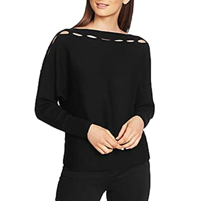 1 State Slit-Cutout Sweater Black at Amazon Women's Clothing store
