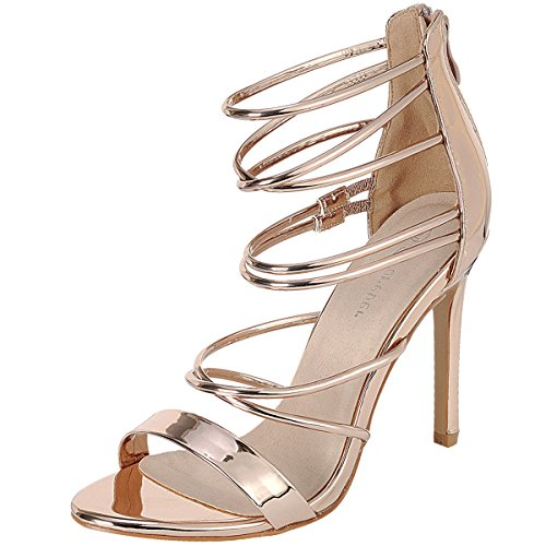 Forever Link Womens Open Toe Metallic Elastic Strappy Cage Stiletto High Heel Pump Sandals Rose Gold 78JWsgsK