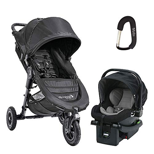 2018 Baby Jogger City Mini Travel System, Complete with City Mini Gt Stroller, City GO Car Seat, Car Seat Adapter and Bonus Baby Gear Xpo Stroller Hook Black