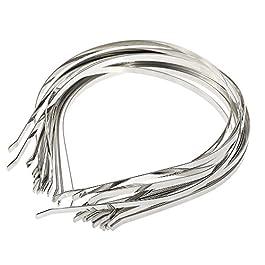Anself 20pcs DIY Headbands Tiara Base Hairdbands Women Girls Hair Clasps Silvery Metal, 5mm Width, DIY Blank Metal Headbands, Head Wraps, Plain No Teeth DIY Hair Bands, Plain Headbands