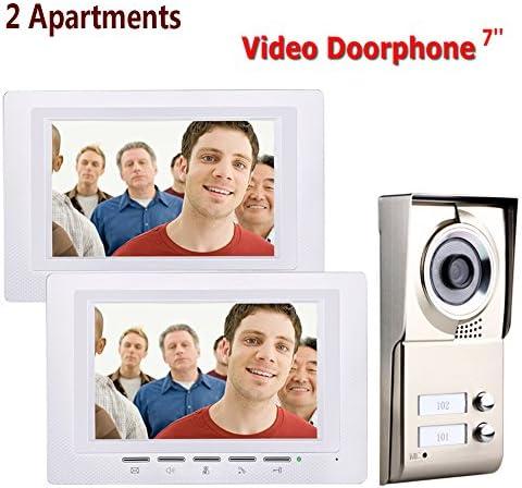 7インチ防水2ボタン2モニタと2つのアパートビデオドア電話インターホンシステムIR-CUT HD 1000TVLカメラドアベルカメラ
