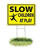 "Headline Sign - Yard Sign,""SLOW, CHILDREN AT PLAY"", 18 x 24 Inches (4731)"
