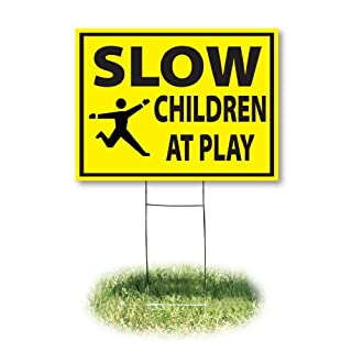 """Headline Sign - Yard Sign,""""Slow, Children at Play"""", 18 x 24 Inches (4731)"""