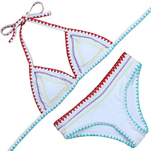 DELEY Mujeres V Cuello Ganchillo Halter Moda Bikini Triangulo Bohemio Estilo Traje De Baño Playa Verano Trikini Swimwear Swimsuit Rosa