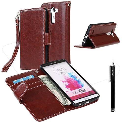 - LG G3 Case, LG G3 Flip Case - E LV LG G3 Deluxe PU Leather Folio Wallet Full Body Protection Case Cover for LG G3 with 1 Stylus - Brown