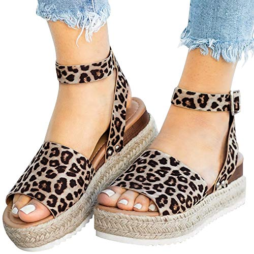 (Athlefit Women's Platform Sandals Espadrille Wedge Ankle Strap Studded Open Toe Sandals Size 7.5 Leopard)