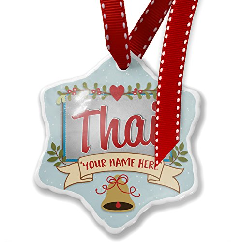 Add Your Own Custom Name, Thai, Cat Breed Thailand Christmas Ornament NEONBLOND by NEONBLOND