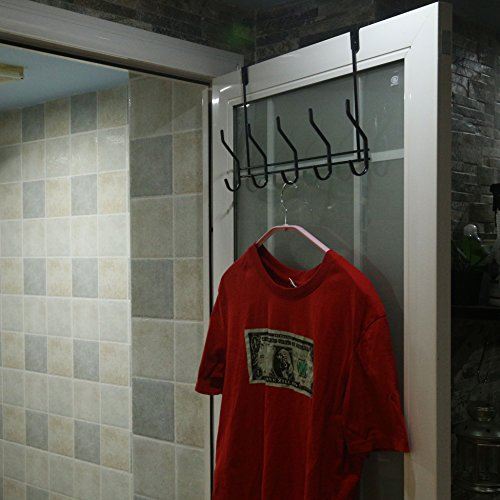 WEBI Over The Door Hook, Hook Hanger Heavy Duty Coat Rack, Great Home Storage & Organization Towels,Coats,Hats, Scarves, Purses, Black by WEBI (Image #3)