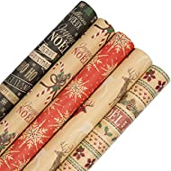 JAM PAPER Assorted Gift Wrap - Christmas Kraft Wrapping Paper - 125 Sq Ft Total - Kraft Christmas Set - 5 Rolls/Pack