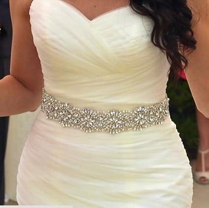 Amazon.com: ShiDianYi Wedding Dress Sash - Rhinestone - Pearl ...