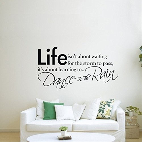 DIY-Decals Office Classroom Motivational Inspirational Quote Family Love Vinyl Saying Life isnt About Waiting for The Storm to Pass its About Dance in The Rains for Office Motivational -