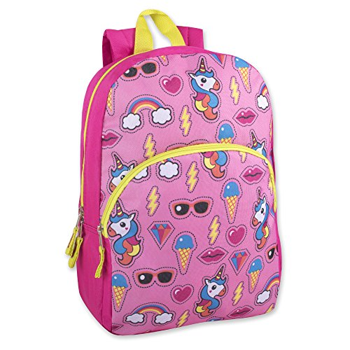 "Trail maker Kids Character Backpacks for Boys & Girls (15"") with Adjustable, Padded Back Straps (Unicorn Adventure)"
