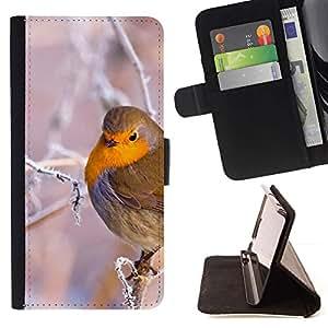 Momo Phone Case / Flip Funda de Cuero Case Cover - Rama de árbol del pájaro de la nieve del hielo invierno frío Puffy - Samsung Galaxy A5 ( A5000 ) 2014 Version