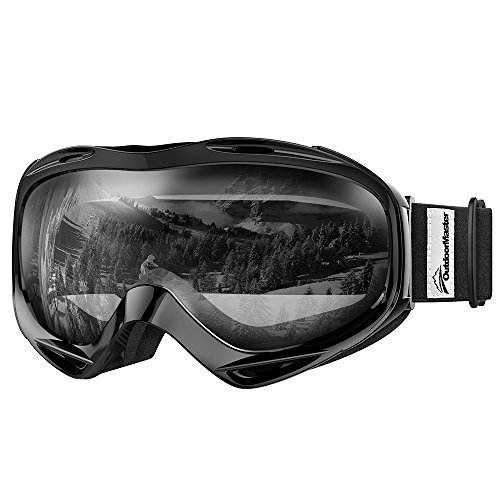 OutdoorMaster OTG Ski Goggles - Over Glasses Ski / Snowboard Goggles for Men, Women & Youth - 100% UV Protection (Black Frame + VLT 99% Clear - Polarized Lenses Clear