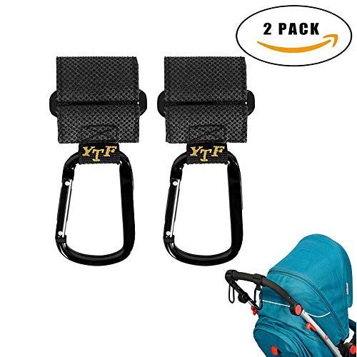 Stroller Hooks, Mom Hooks for Stroller, Hanger for Baby Diaper Bags, Purse, Non-Slip Multi-Purpose Mommy Stroller Organizer Clip for Shopping, Travelling and Walking- 2 Pack ()