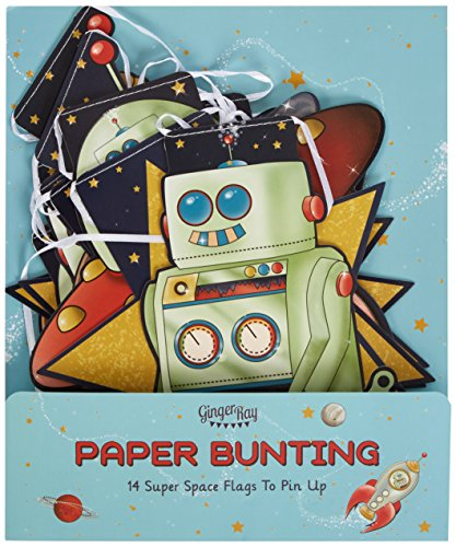Ginger Ray Space Adventure Spaceship Robot Paper Party Bunting, Mixed by Ginger Ray