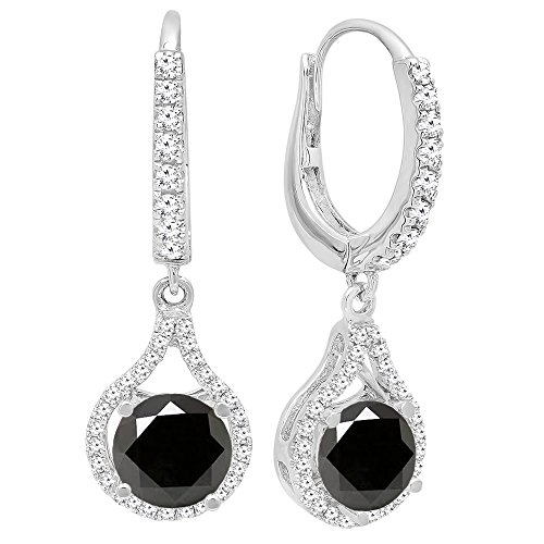 Dazzlingrock Collection 14K 5.5 MM Each Round Cut Black Sapphire & White Diamond Ladies Dangling Drop Earrings, White Gold