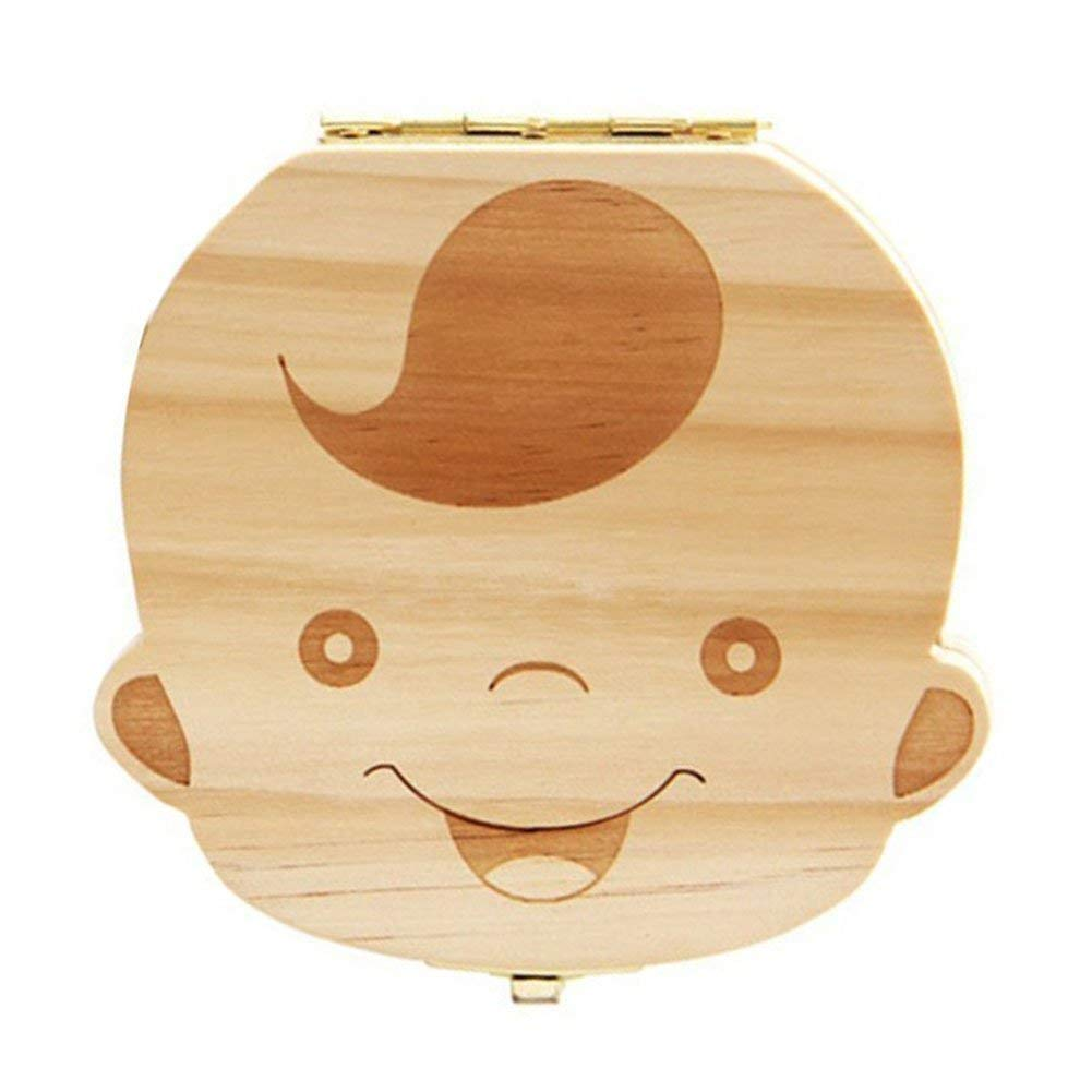 12.5*11.5*3CM Anglais Fille versi/ón en ingl/és y franc/és madera Caja de madera para dientes de leche de beb/é Leisial