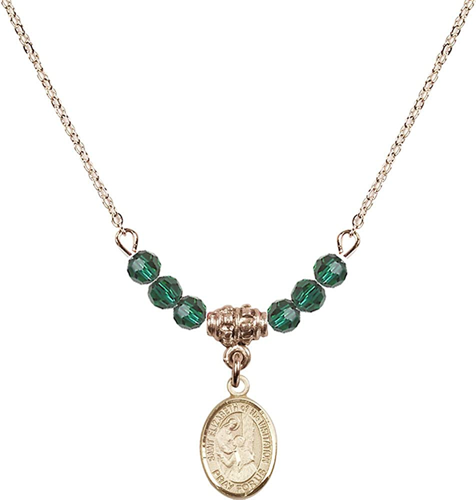 18-Inch Hamilton Gold Plated Necklace with 4mm Emerald Birthstone Beads and Gold Filled Saint Elizabeth of the Visitation Charm.
