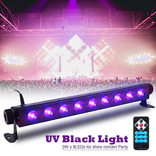 SOLMORE UV Black Light Bar 27W 9LEDs Flood Light DJ Blacklight for Glow Party Stage Club Disco Halloween Show AC100-240V (with Remote)