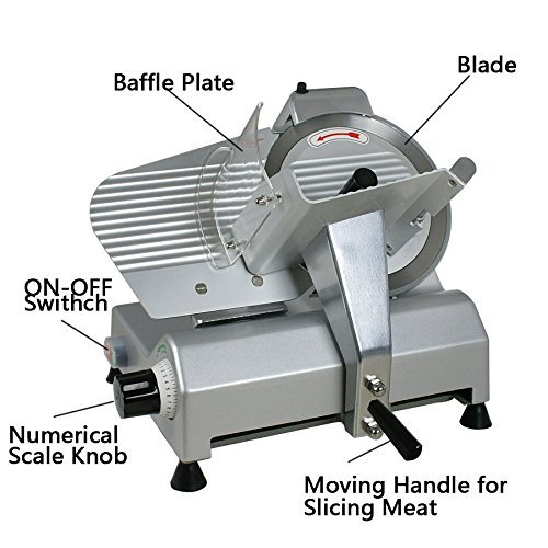Super Deal 10'' Stainless Steel Electric Butcher Food Slicer Butcher, Meat Cheese Deli Chopper Disc Blade 240 Watts 1/3hp 530rpm Appliance, Meat Slicing Machine (Sliver)