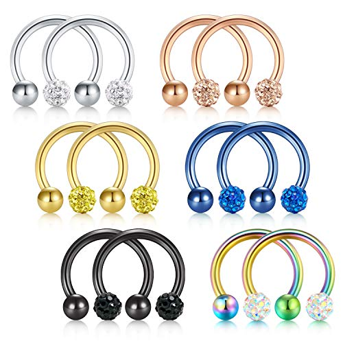 - D.Bella 10PCS 20G Crystal & Ball Nose Septum Horseshoe Earring Eyebrow Lip Helix Tragus Cartilage Piercing Ring 8mm