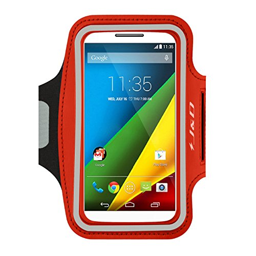 J&D Armband Compatible for Moto Z2 Play/Z3 Play/Z2 Force/Moto G7/Moto G7 Plus/Moto G7 Power/Moto G6/G6 Plus/G6 Play/Moto Droid Turbo 2 Armband, Sports Armband w/Key Holder Slot & Earphone Connection
