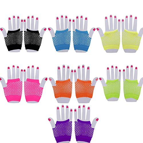 Jiabetterniu 14 Pairs Stretchy Fishnet Fingerless Wrist Gloves Short Wrist Length Mesh Neon Gloves Women's 80s Accessories For Parties Costumes,Assorted Brighted Color by