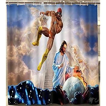 Alexander Custom Macho Man Randy Savage Jesus Shower Curtain Waterproof 180X180Cm Polyester With Hooks