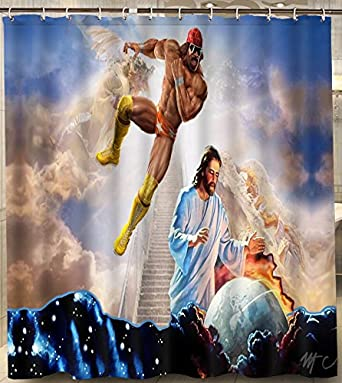 Amazon Alexander Custom Macho Man Randy Savage Jesus Shower Curtain Waterproof 180X180Cm Polyester With Hooks For Bathroom Set Clothing