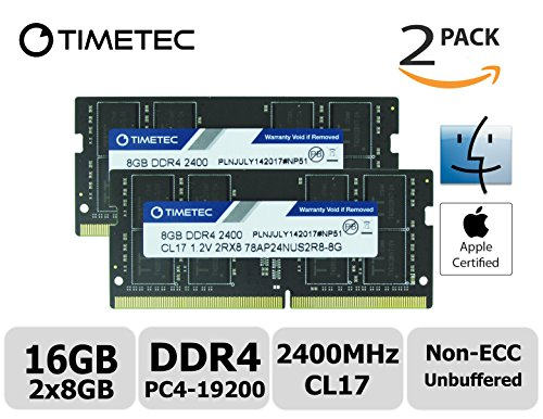 Timetec Hynix IC Apple 16GB Kit (2x8GB) DDR4 2400MHz PC4-19200 SODIMM Memory Upgrade for iMac Retina 4k/5K 21.5-inch/27-inch Mid 2017 (Dual Rank 16GB Kit (2x8GB)) ()