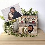Custom Couples Portrait, Personalized Succulent Planter, Wood Box