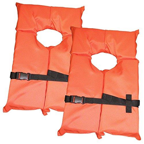 Swimwear Flotation (2 Pack Type II Orange Life Jacket Vest - Adult Universal Boating PFD Swimwear & Safety)