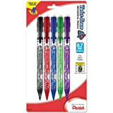 Pentel Twist-Erase UP, 0.7mm, Medium Line, Assorted Barrel Colors, 5 Pack (QE107BP5M)