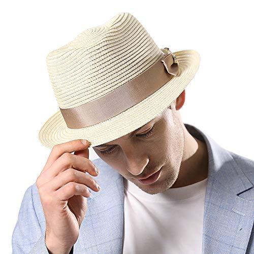Fedora Straw Fashion Sun Hat Packable Summer Panama Beach Hat Men Women 56-62CM