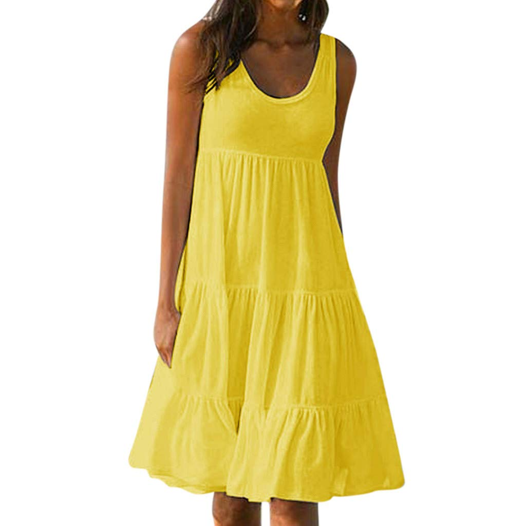 Beach Dress, Women's Vintage Solid Dress Sleeveless Pockets Puffy Swing Casual Summer Party Dress (M, Yellow)