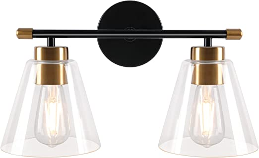 Zorykn Vanity Light Fixture, 2-Light Modern Wall Sconce Lighting, Matte Black Wall Light with Clear Glass Shade and Gold Base, for Bathroom, Hallway, Powder Room, Mirror Cabinets, Stairway (E26 Base)