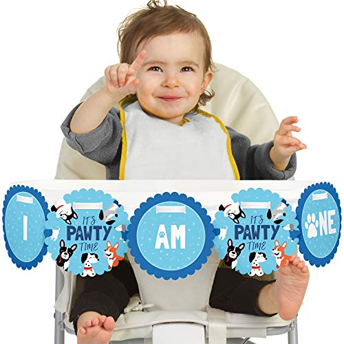 Big Dot of Happiness Pawty Like a Puppy 1st Birthday - I Am One - First Birthday High Chair Banner