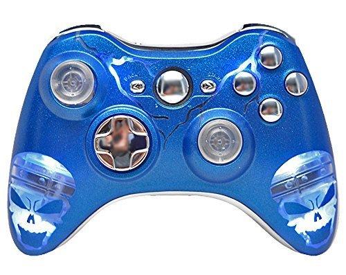Illuminating Blue Skulls Xbox 360 Rapid Fire Modded Controller 35 Mode for BO2, BO3, Advanced Warfare, Destiny, Ghosts, MW3 Drop Shot Jump Shot Jitter by Xbox 360