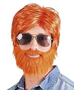 Leñador con barba oampesina carnaval de la peluca de la peluca