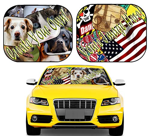 MSD Custom Windshield Sun Shade - Personalized Image or Text on Car Windshield Sunshade - Customize by Adding Your own Photo, Logo, or Message on Collapsible Auto Shades