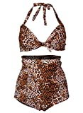 Futurino Women's Retro Leopard Print High Waist Bikini Sets Carnival Swimsuit