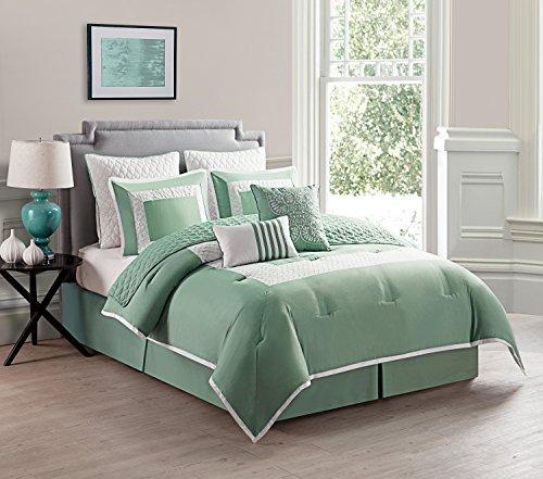 Twin 7 Piece (VCNY 7 Piece Marion Comforter Set, Twin, Aqua)