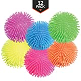 12 Squeeze Soft Large Puffer Balls , Premium-Quality, In Assorted Neon Colors, Fun Fidget Sensory Toy, Awesome Party Favor, Gift Bag Filler